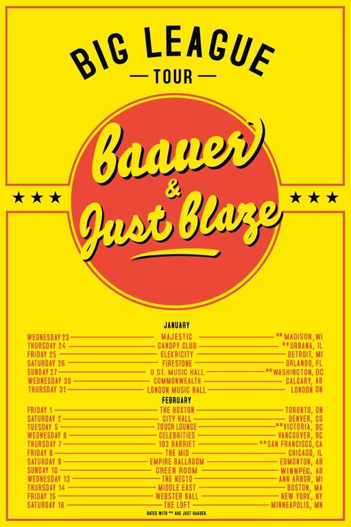 Just Blaze & Baauer Big League Nationwide Tour Ticket Giveaway [CONTEST]