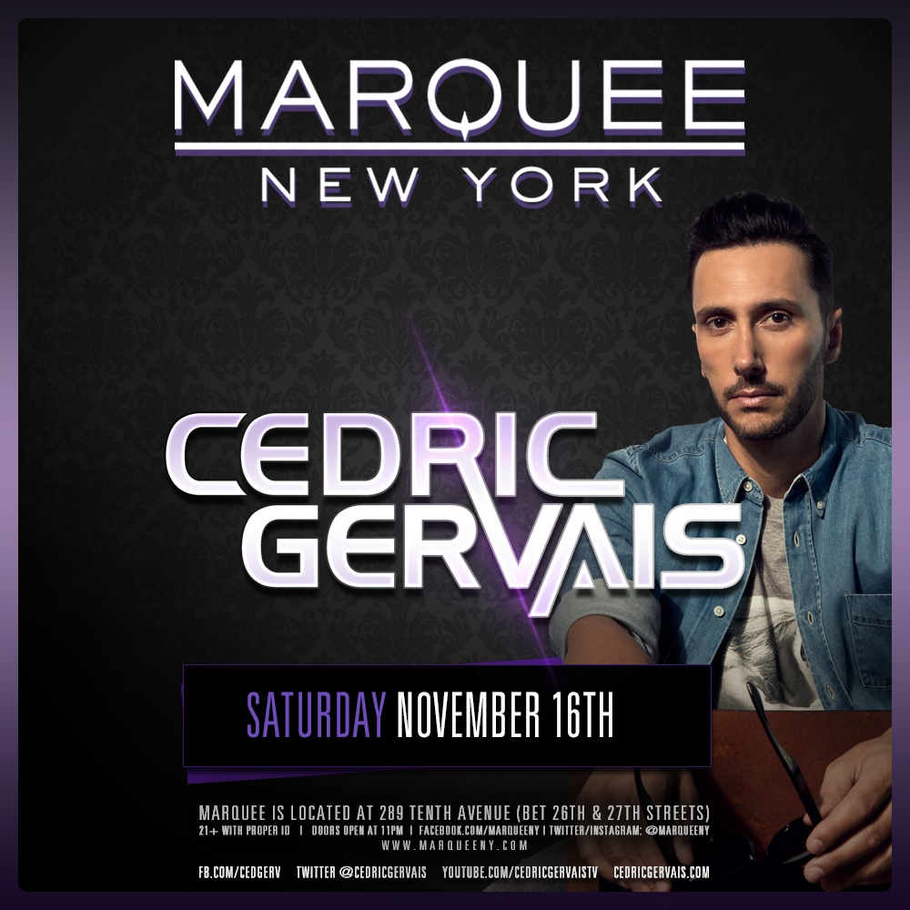 Win A 4 Person VIP Experience + Meet & Greet with Cedric Gervais at Marquee New York [GIVEAWAY]