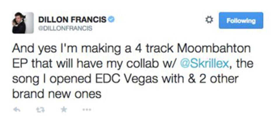 Dillon Francis Skrillex Collab Tweet