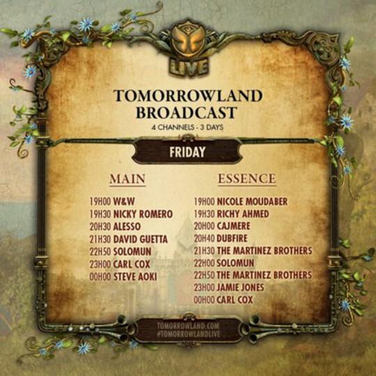TomorrowLand 2015 Schedule