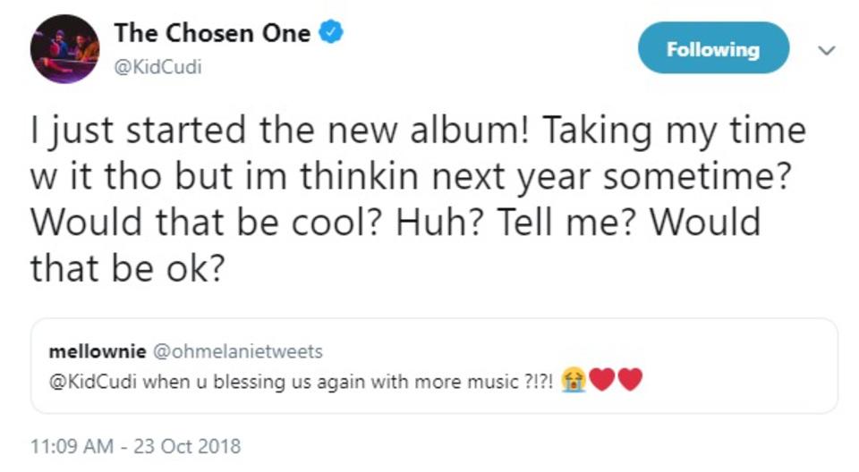 kid cudi new music 2019 tweet