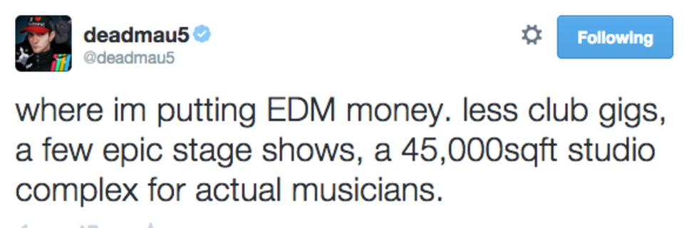 deadmau5 mega 45,000 studio tweet