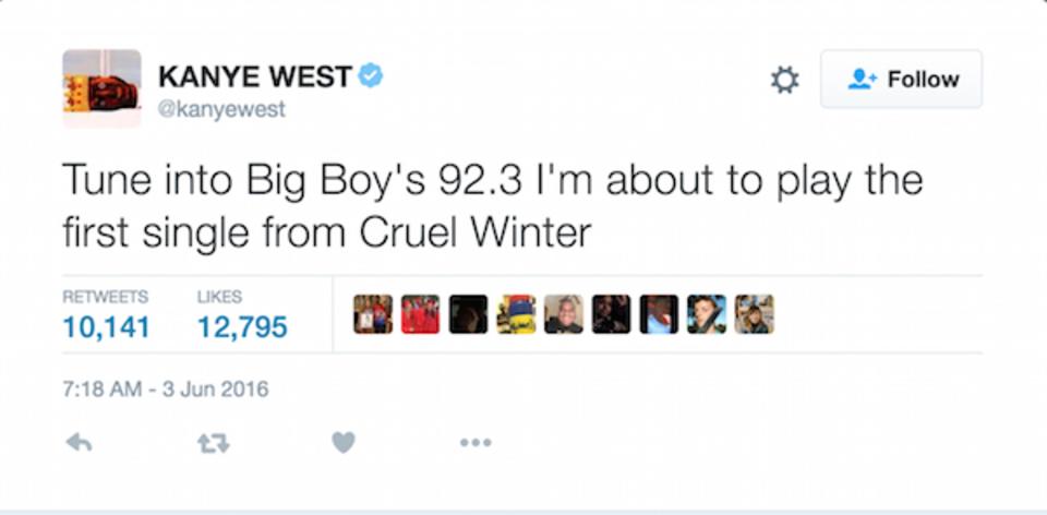 Kanye Cruel Winter Tweet